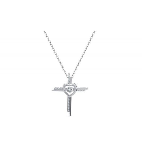 NYC Sterling Women Cubic Zirconia Double Row Cross Dancing Stone Pendant Necklace - CW12O18GZ3J