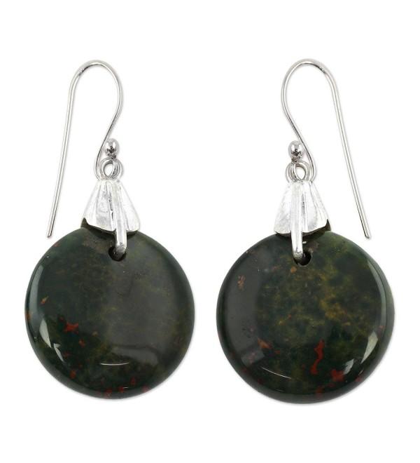 NOVICA Bloodstone .925 Sterling Silver Dangle Earrings 'Moon of Justice' - CM12DUHT615