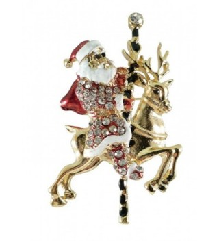 "Bejeweled Christmas Goldtone ""Santa on Reindeer Carousel"" Pin 277 - CT12OI6FFJ1"