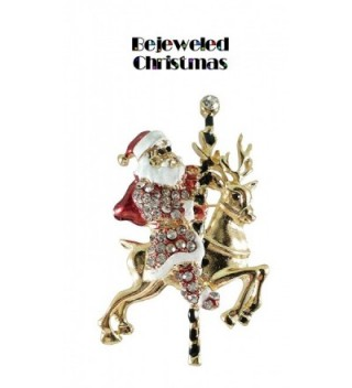 Bejeweled Christmas Goldtone Reindeer 277 in Women's Brooches & Pins