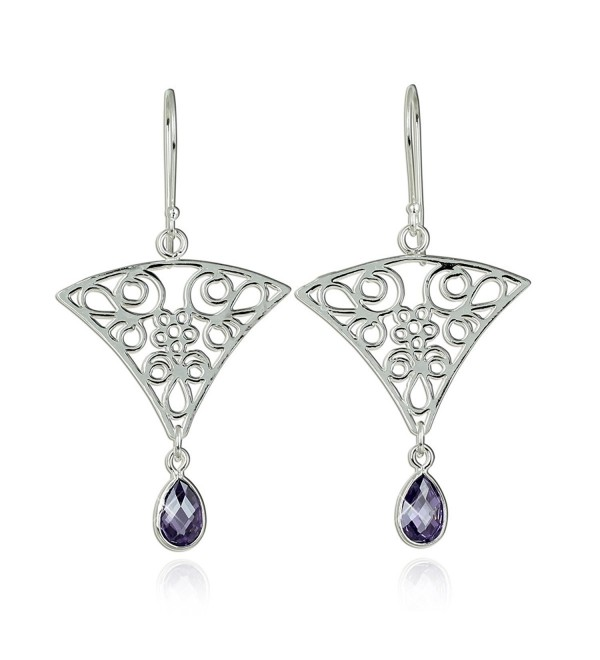 Triangular Dangle Earrings with Intricate Floral Design and Teardrop Purple Cz in 925 Sterling Silver - CA129QESSO7