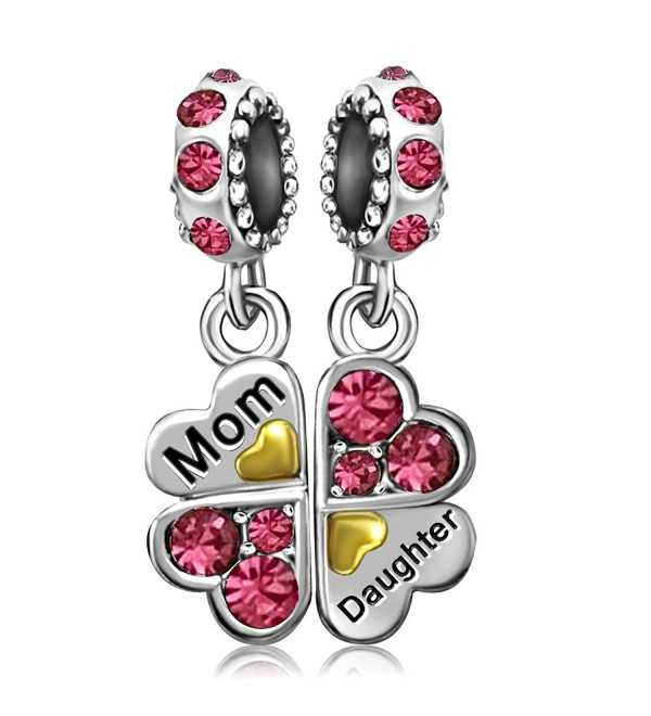 JMQJewelry Heart Mom Love Daughter Clover Charms Crystal Dangle For Charms Bracelets - CY182IOT6Z0