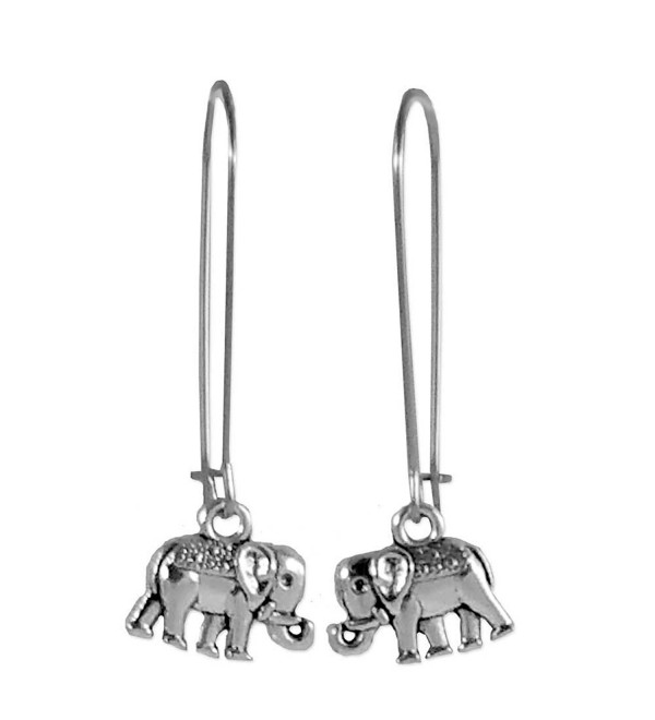 Sabai Silvertone Circus Elephant Charm Dangle Earrings on Stainless Steel Earwires - CU12GZRC2YF
