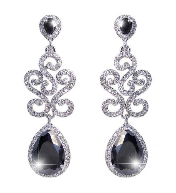 EVER FAITH Art Deco S-Shape Teardrop Pierced Dangle Earrings Flawless Zircon - Black Silver-Tone - CI11J2EVKJR