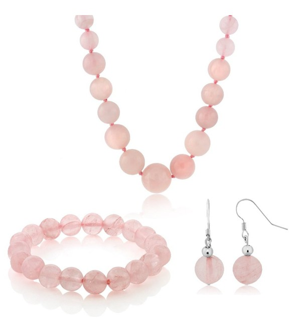 10MM Simulated Rose Quartz Round Bead Necklace Bracelet and Earrings Set 20 Inch - C7117OAR9EZ