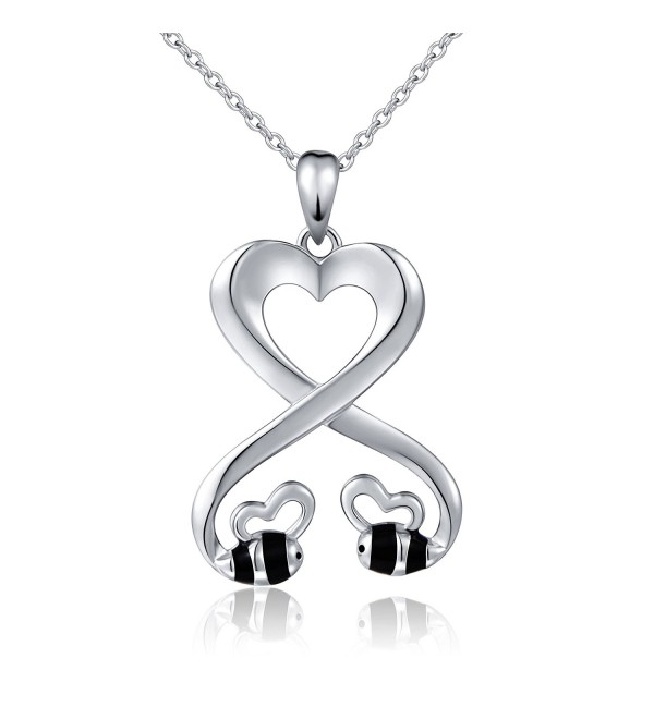 "925 Sterling Silver Double Bees Infinity Love Heart Pendant Necklace for Girlfriend- 18"" - CA1820LY5S9"