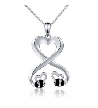 """925 Sterling Silver Double Bees Infinity Love Heart Pendant Necklace for Girlfriend- 18"""" - CA1820LY5S9"""