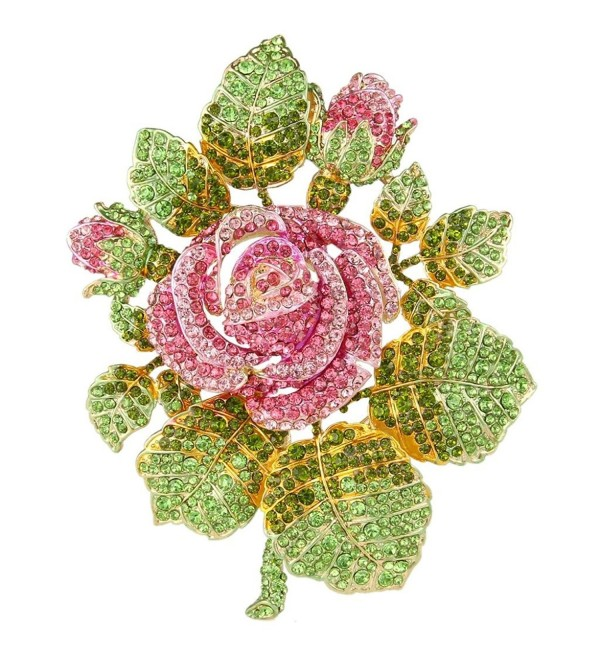 EVER FAITH Austrian Crystal Wedding Bridal Romantic Rose Flower Leaves Brooch - Pink Gold-Tone - CV11TRS0JXV