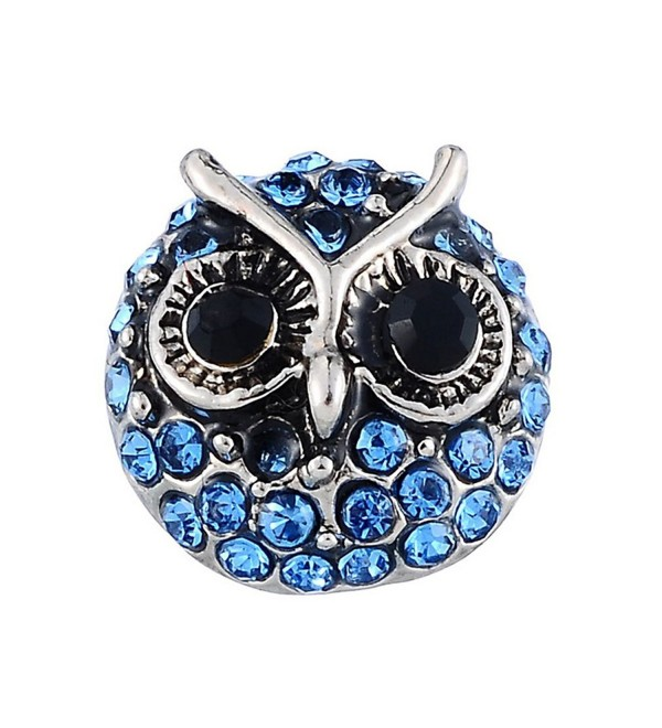 Souarts Blue Owl Shape Rhinestone Mini Snap Button Fit Bracelets - C81227KS54Z