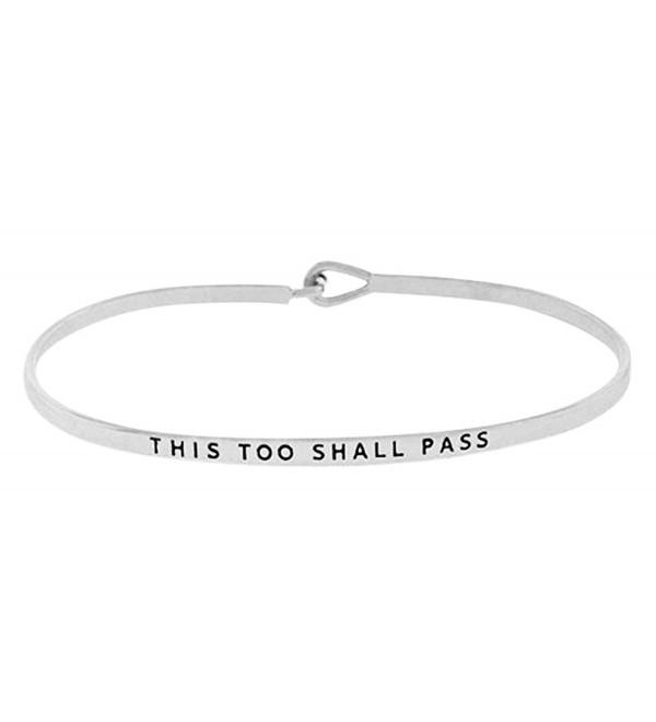 Inspirational Engraved Positive Message Bracelet - Silver Tone - CC12M3IC411