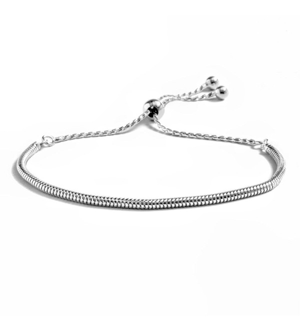 Peermont Jewelers Sterling Silver Round Snake Chain Adjustable Bracelet - CV12NG8WDLO