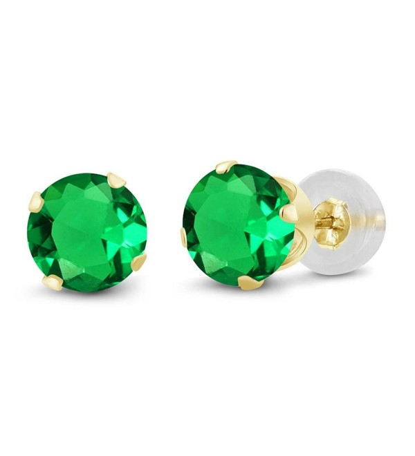1.54 Ct Round 6mm Green Nano Emerald 14K Yellow Gold Stud Earrings - CQ11H7ODYMZ