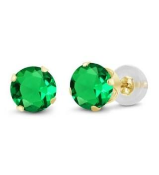 1.54 Ct Round 6mm Green Nano Emerald 14K Yellow Gold Stud Earrings - CQ11H7ODYMZ