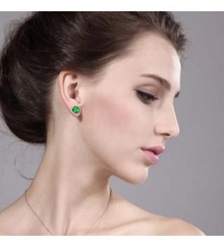 Round Green Emerald Yellow Earrings in Women's Stud Earrings