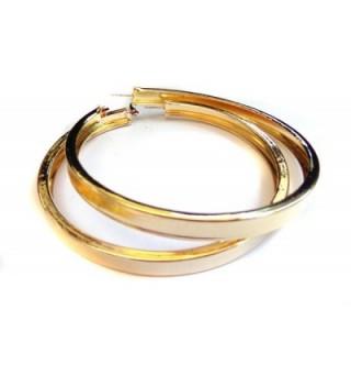 Large 4 Inch Hoop Earrings Thick Tube Hoop Gold Tone Hoop Earrings - CB12J8CD3VF