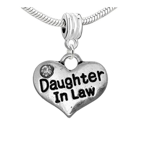 Daughter in Law Heart Dangle Bead for Snake Chain Charm Bracelet - C3124YNYVN7