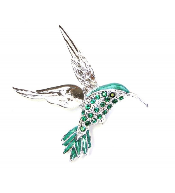 Faship Gorgeous Emerald Color Green Hummingbird Pin Brooch - CY11S43UI0T