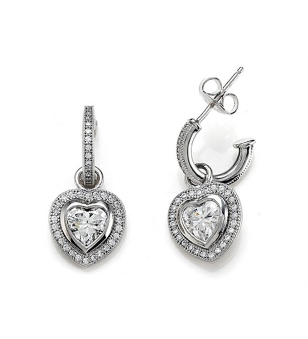 Zoe R Sterling Silver Micro Pave Hand Set Cubic Zirconia One Row Small Hoop Earrings and Heart Shape - C0116MWIUTF