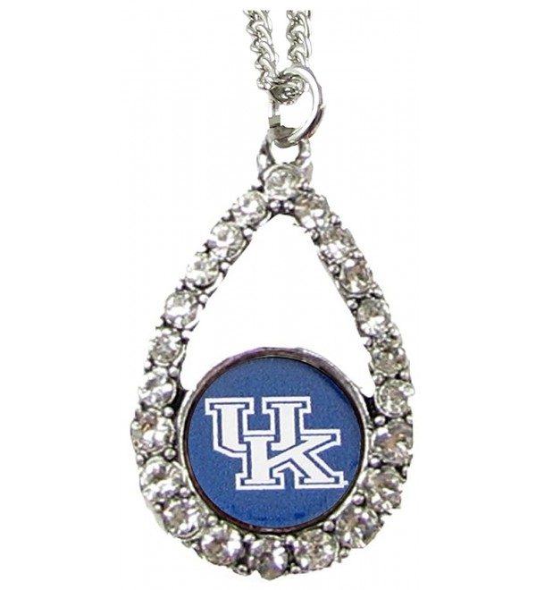 Kentucky Wildcats Blue Teardrop Clear Crystal Silver Necklace Jewelry UK - CY11J1G9ITZ