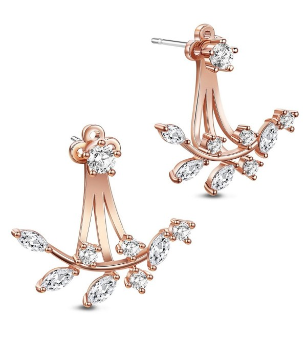 SHEGRACE 18K Gold Plated Leaf Earring Studs CZ Ear Jackets Rose Gold Front and Back Earrings - CD185K7X26T