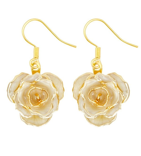 Gold Dipped Rose Earring Ivory - Ivory - CX12DS7FC47
