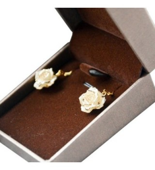 Gold Dipped Rose Earring Ivory