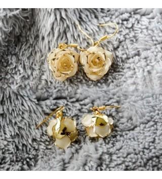 Gold Dipped Rose Earring Ivory in Women's Drop & Dangle Earrings