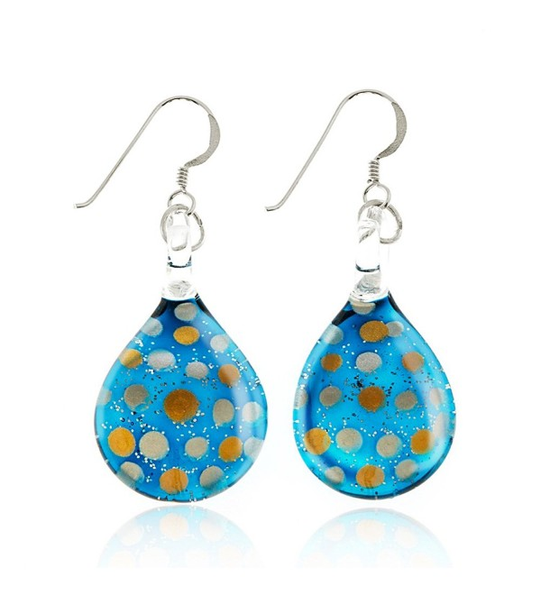 "Sterling Silver Hand Blown Venetian Murano Glass Glitter Polka Dots Teardrop Dangle Earrings 1.7"" - Blue - CR11WRCZKID"