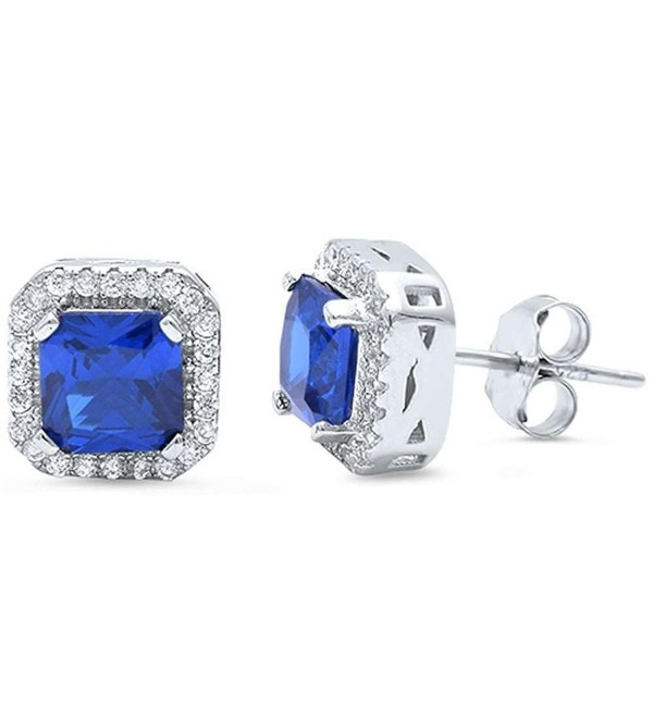 Halo Stud Post Wedding Earrings Princess Cut Square Simulated Blue Sapphire Round CZ 925 Sterling Silver - C612MYMZ96M