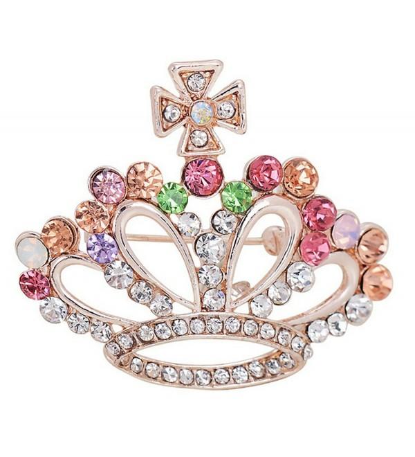 Christmas Day Gift Crystal Rhinestone Filigree England Royal Queen Crown Pin Brooch - CB12FVR76Q9