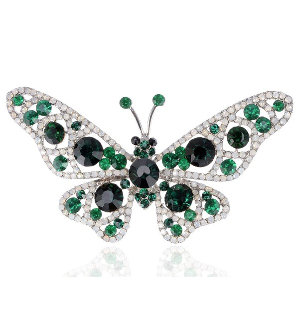 Alilang Nickel Tone Emerald Green Colored Rhinestones Butterfly Insect Brooch Pin - CY1163ZKIL9