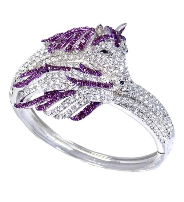 EVER FAITH Women's Crystal Enamel Gorgeous Sleeping Pegasus Bracelet - Purple Silver-Tone - CN11IFZ7X63