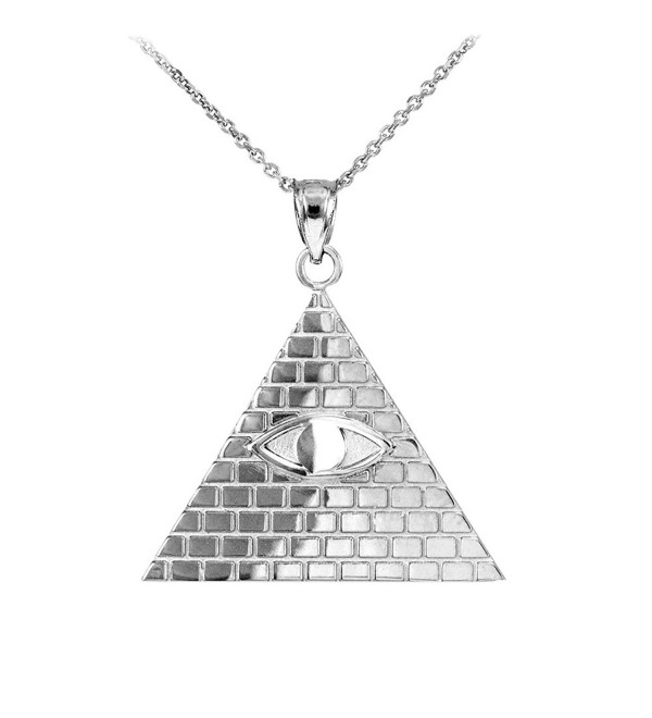 925 Sterling Silver Pyramid Charm All Seeing Eye of Providence Illuminati Pendant Necklace - CO123V73VJR