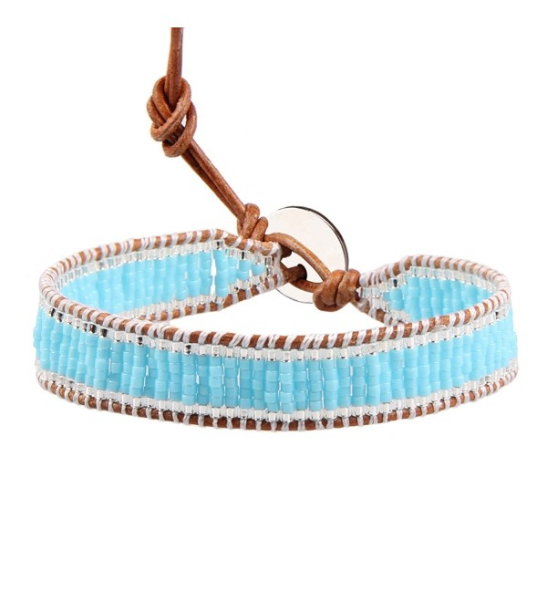 KELITCH Blue Zircon Seed Beaded Loom Cuff Bracelet on Brown Leather - CW12K1ZM89L