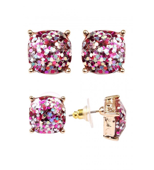 Riah Fashion Women's Small Square Glitter Cubic Zirconia Stud Earrings for Her - Pink - CB182H2Q3Y6