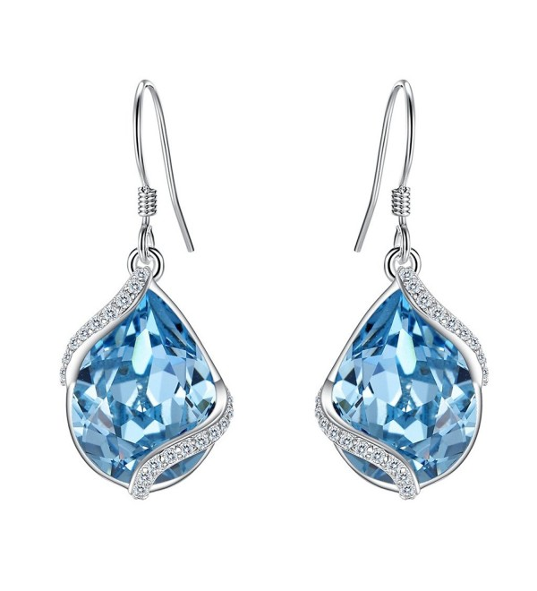EVER FAITH Sterling Teardrop Swarovski - Light Blue 925 Sterling Silver - C0185QRQ6ZG