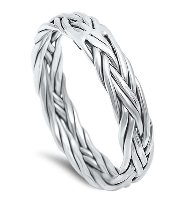 Braided Celtic Band .925 Sterling Silver Ring sizes 5-13 - CO125MABVWT