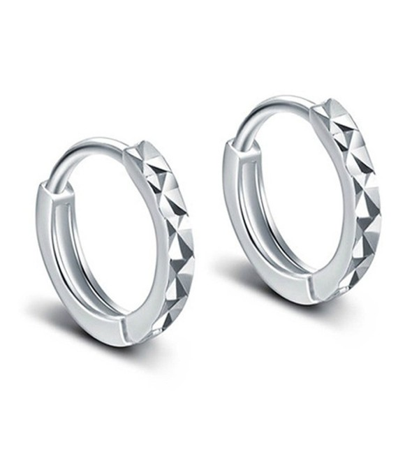 Fashion Womens 925 Sterling Silver Polished Rhombic Finish Tiny Hoop Earrings - CJ12MXA20FV