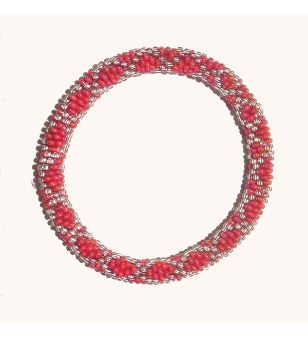 Shimmering Red and Silver Handmade Beaded Bracelet- Nepal-roll on Your Wrist- PB9 - CC11HZAH7PZ