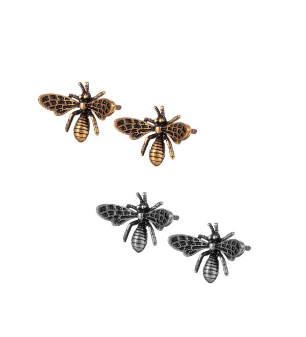 YOU WANG Jewelry For Women Girls Antique Gold Tone Plated Bee Stud Earrings - Gold silver - CK189CINDR6