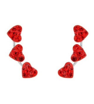 EleQueen Sterling Zirconia Crawlers Earrings - Red - CV17Z58933N