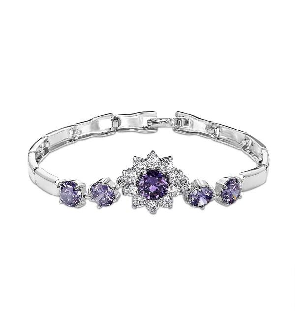 """OKAJEWELRY Round Cut Sapphire Cubic Zirconia CZ 7"""" Flower Tennis Bracelet 7 Inches - CZ11ZYODFIN"""