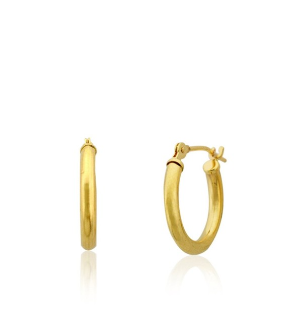 10KT Gold Polished 2X14mm French/Clip Lock Hoop Earrings(14mm Diameter) - CM12BUSUZE3