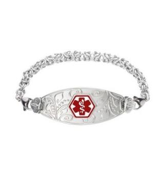 Divoti Custom Engraved Lovely Filigree Medical Alert Bracelet -Handmade Byzantine-Red - CS12CW0M05P