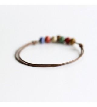 Rihan Ethnic Bohemian Handmade Ceramic Beads Leather Fabric Anklet - Bell - CK1237KBV4F