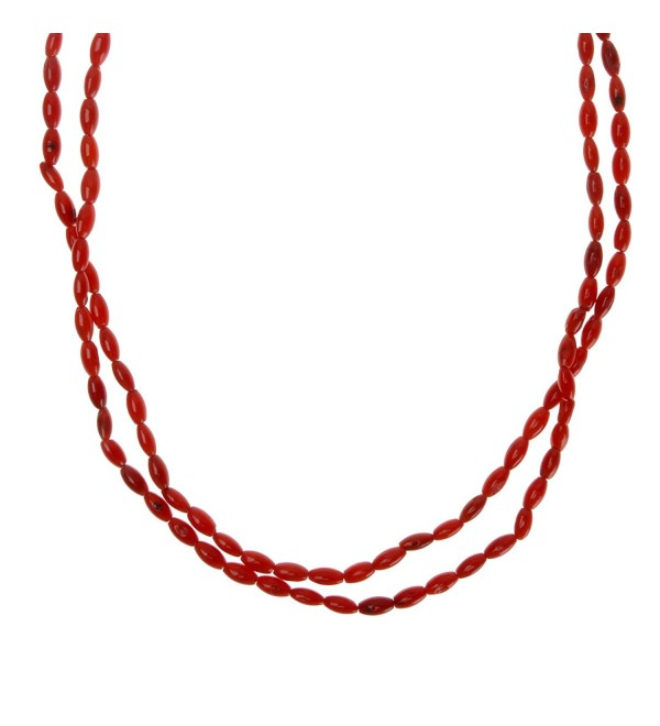 ZLYC Women Handmade Elegant Dyed Coral Stone Double Strand Necklace Resort Jewelry - Red - CS124KH8CFZ