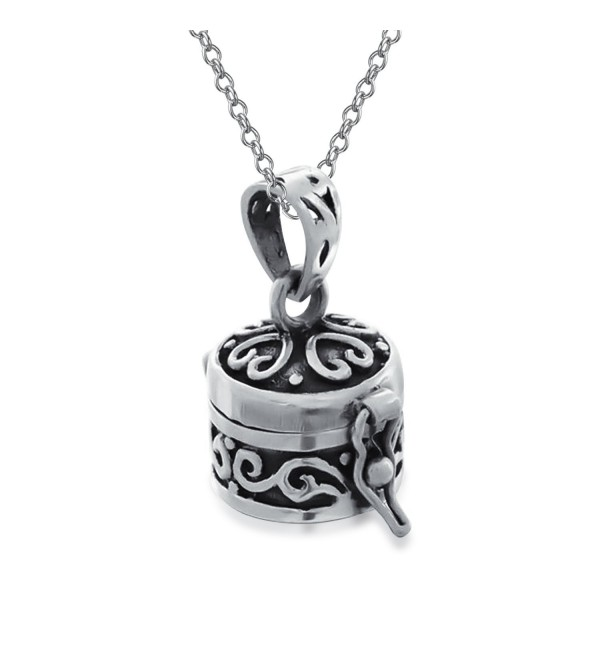 Round Antiqued Poison Prayer Box Locket Pendant Sterling Silver Necklace 18 Inches - CA115YNKI93