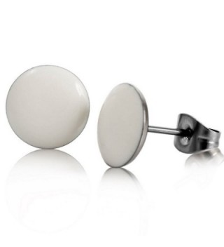 INBLUE Women's 10mm Stainless Steel Enamel Stud Earrings Silver Tone White Black Green Round - white - CU11DSEJQ7Z