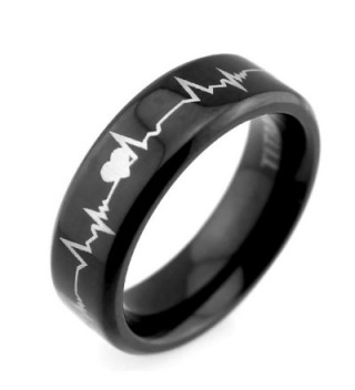 Lifetime Love 6mm Black Titanium Rings Cardiogram Heartbeat Laser Pattern Unique Wedding Rings - CP127RDH9XZ