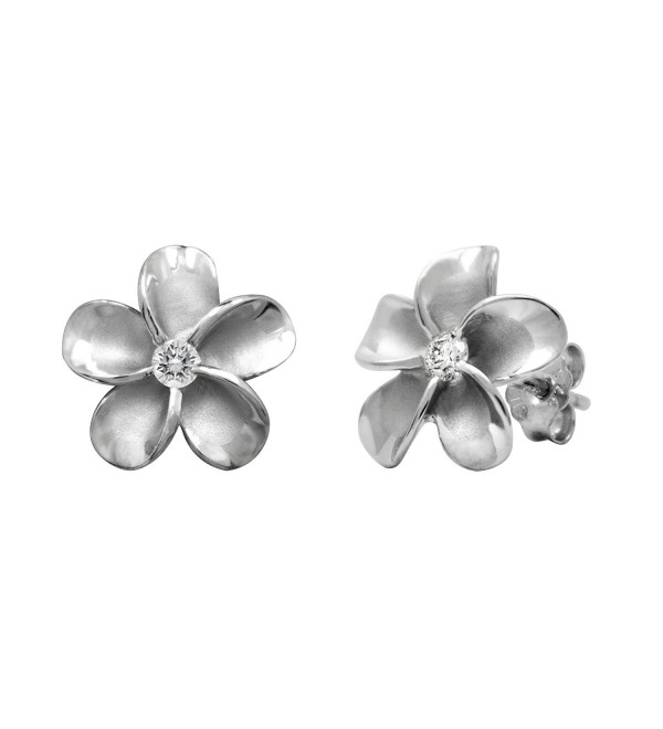 Sterling Silver Plumeria Stud CZ Earrings- 12mm - C21175T8XCD
